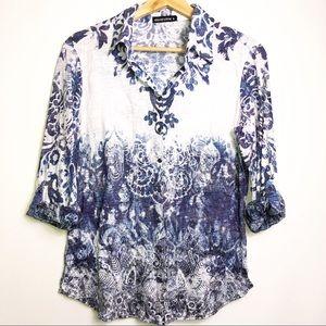 David Cline Blue Floral Paisley Button Up Shrit S